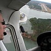 Turning final over the lake at the end of runway 10 in Milledgeville, Georgia (2007)